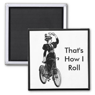 Vintage Bicyclist Square Magnet