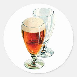 Vintage Bier Frosty Beer Glasses Illustration Classic Round Sticker