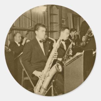 Vintage Big Band Sax Classic Round Sticker