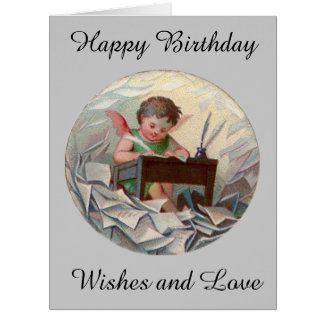 Vintage Big Birthday Angel Child Writing at Desk Card