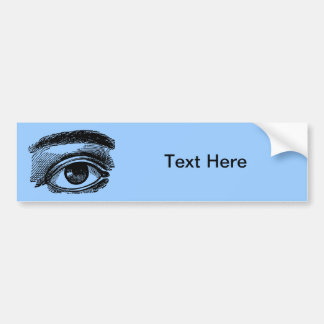 Vintage Big Eye Wood Engraving Bumper Sticker