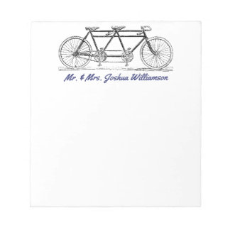 Vintage Bike Built For Two Just Married Monogram Notepad