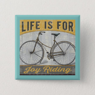 Vintage Bike With Quote 15 Cm Square Badge