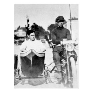 Vintage Biker Outlaw Motorcycle and Sidecar Postcard