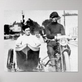 Vintage Biker Outlaws Motorcycle & Sidecar Poster