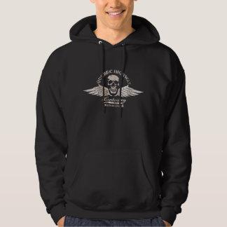 Vintage Biker Skull and Wings Emblem Hoodie