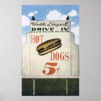 Vintage Billboard, Worlds Largest Drive In Hotdogs Posters