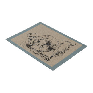 Vintage Billy Goat Country Farm and Pets Doormat