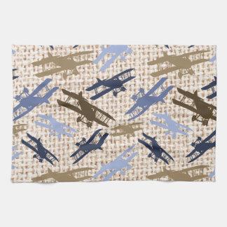 Vintage Biplane Burlap Print Airplane Pattern Towel