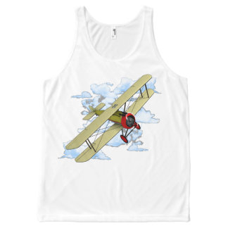 Vintage Biplane Flying All-Over Print Singlet