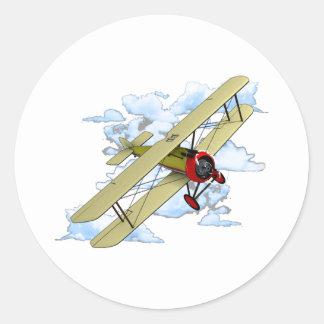 Vintage Biplane Flying Classic Round Sticker