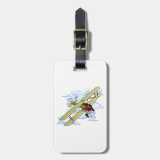 Vintage Biplane Flying Luggage Tag