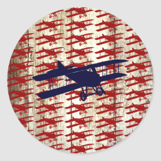 Vintage Biplane on Barn Wood Aviation Gifts Classic Round Sticker