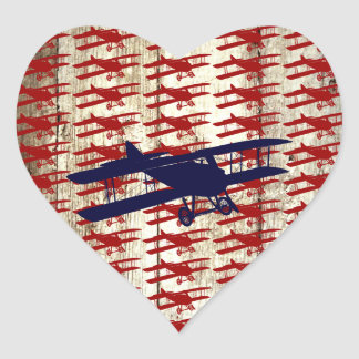 Vintage Biplane on Barn Wood Aviation Gifts Heart Sticker