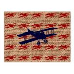 Vintage Biplane Propeller Aeroplane on Burlap Postcard