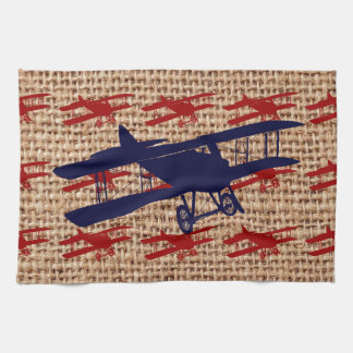 Vintage Biplane Propeller Airplane on Burlap Print Hand Towels