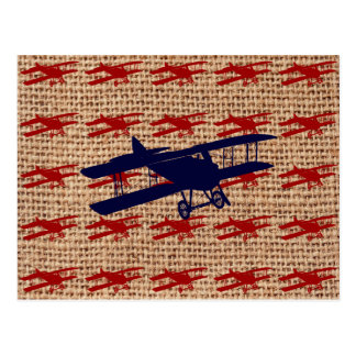 Vintage Biplane Propeller Airplane on Burlap Print Postcard