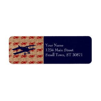 Vintage Biplane Propeller Airplane on Burlap Print Return Address Label