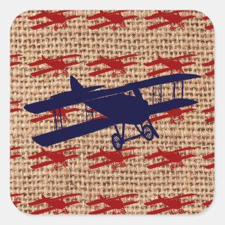 Vintage Biplane Propeller Airplane on Burlap Print Square Sticker