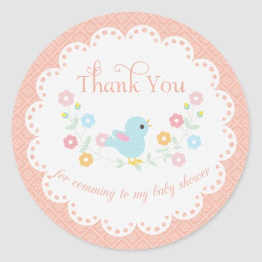 Vintage Bird and Flowers Baby Shower Thank You Stickers