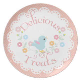 Vintage Bird and Flowers Delicious Treats Plate