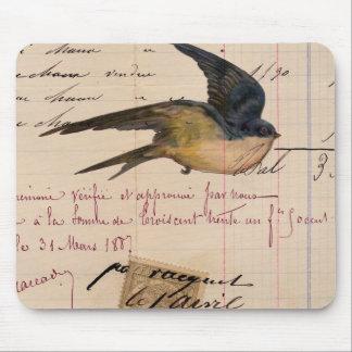 Vintage Bird and Ledger Paper Digital Art Mousepads