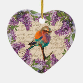Vintage bird and lilac ceramic ornament
