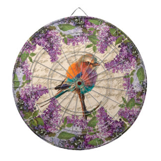 Vintage bird and lilac dartboard with darts