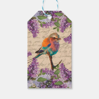 Vintage bird and lilac gift tags