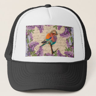 Vintage bird and lilac trucker hat