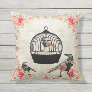 Vintage Bird Cage and Floral Rose Throw Pillow