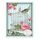 Vintage Bird, Cage, Butterfly, Roses Bridal Shower 11 Cm X 14 Cm Invitation Card