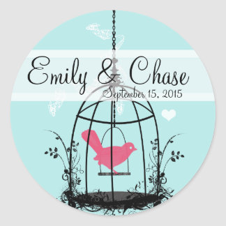 Vintage Bird Cage Musical Love Bird Weddings Classic Round Sticker