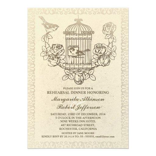 vintage bird cage rehearsal dinner invitations