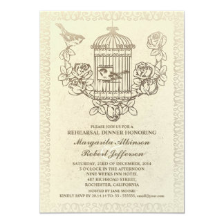 vintage bird cage rehearsal dinner invitations