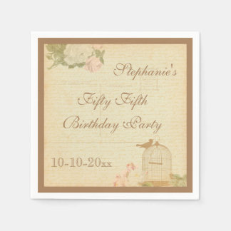 Vintage Bird Cage & Roses 55th Birthday Paper Serviettes