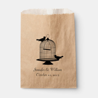 Vintage Bird Cage Wedding Favor Bag