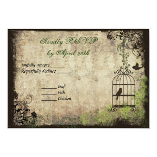 "Vintage Bird Cage Wedding R.S.V.P. Card 3.5"" X 5"" Invitation Card"