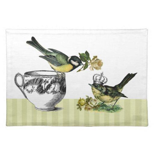 Vintage Bird Couple. Valentine's Day Gift Placemat