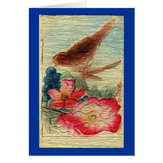 Vintage Bird & Flower All Occassion Greeting Card