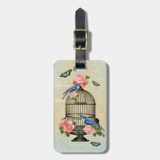 Vintage bird & flower girly & feminine luggage tag