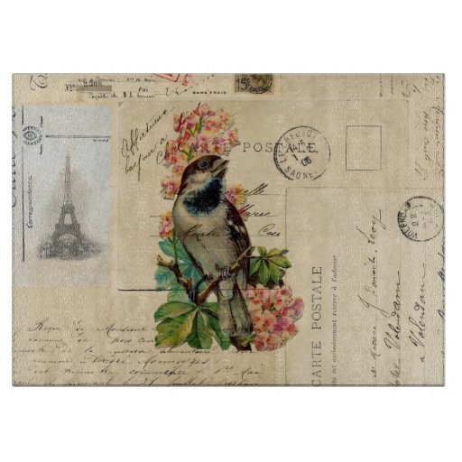 Vintage Bird Flowers French Postcards Cutting Boards