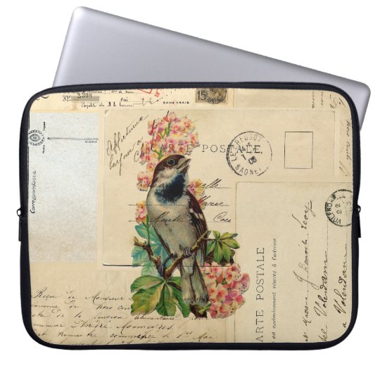 Vintage Bird Flowers French Postcards Laptop Sleev Laptop Sleeve