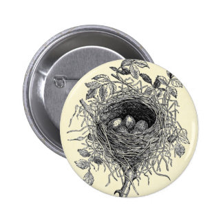 Vintage Bird Nest Illustration 6 Cm Round Badge