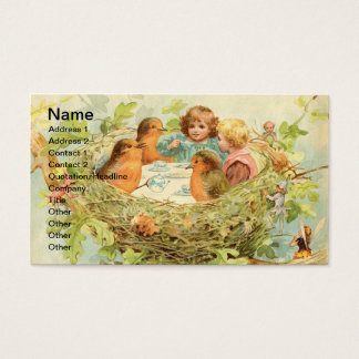 Vintage Bird Nest Tea Party Business Card