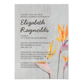 Vintage Bird of Paradise Bridal Shower Invitations