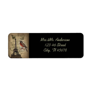 Vintage Bird Paris Eiffel Tower Wedding Return Address Label