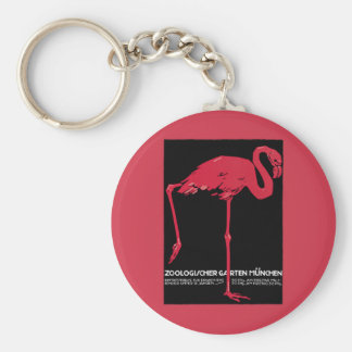 Vintage Bird Pink Flamingo at Germany Munich Zoo Key Chains