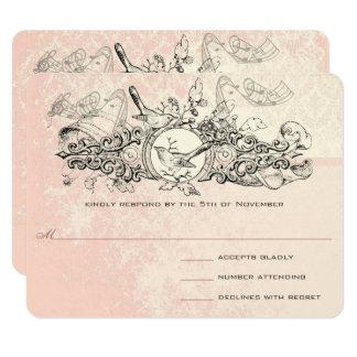 Vintage Bird Pink Musical Scroll Wedding RSVP Card
