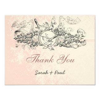 Vintage Bird Pink Musical Scroll Wedding Thank You Card